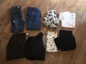 Bundle of 8 Ladies Clothes Items - Jacket, Jeans, T Shirt, BNWT Cardigan Size 10-12