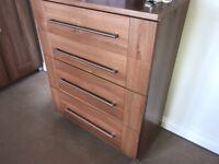 Walnut colour chest of draws x2 and 1 wardrobe