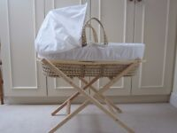UNISEX MOSES BASKET WITH STAND AND BEDDING - ALL EXCELLENT CONDITION BARELY USED!