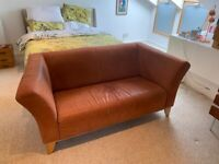 Sofa - tan suede Ikea sofa