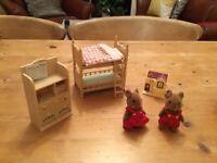 Sylvanian Children's Bedroom Furniture with Mice Children
