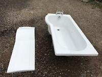 P shaped bath with mixer tap.