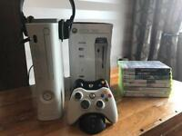 XBox 360 with x2 controllers and games