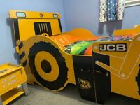 Digger JCB Single Bed with Mattress & Side Table