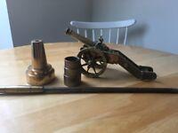 Vintage brass hearth items, heavy, vgc