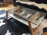 John Lewis glass topped coffee table scandi style
