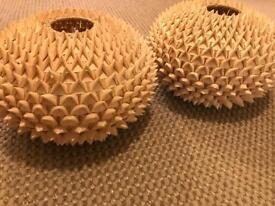2x wood/ bamboo style hedgehog lampshades