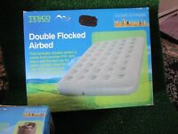 new double flocked airbed with electric pump new
