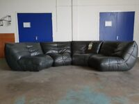 FABB SOFAS KINK DARK GREY LEATHER DESIGNER CORNER SOFA / SETTEE DELIVERY AVAILABLE