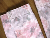 Pink/white/ grey pencil pleat lined curtains by Mostyns. 43ins w x 44ins long