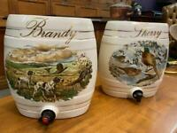Fabulous vintage china large Sherry and brandy barrels great for home bar decoration