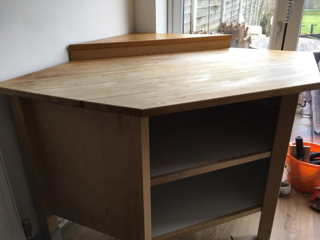 Freestanding Kitchen Corner Unit Solid Wood Top Ikea Varde In  # Meuble Ikea Varde