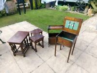 Various tables (see pics) all in need of upcycling if wanted.