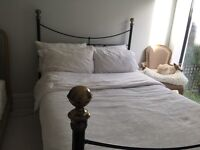 Victorian style black/brass double bed frame, wooden slats, with mattress - also a four poster!
