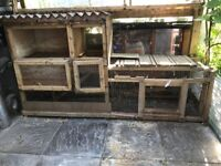 Double storey rabbut hutch and metal run for sale