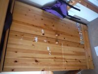 Single Pine high sleeper Bed with desk and wardrobe