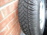 165 x 70 x 13 brand new uniroyaL rallye tyre,the rain tyre,brand new coloured bands still on it ,new