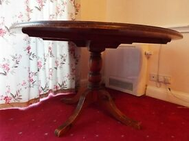 Circular wooden table