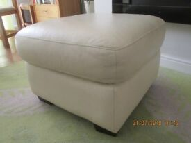 Leather pouf foot stool ivory full hide leather 24 inches x 24 inches