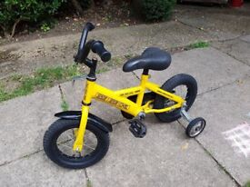 12 inch wheels Kids bike with stabilisers, Yellow