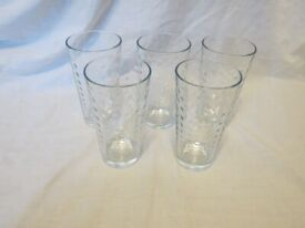 Set of 5 Glass Tumblers with Bubble Effect