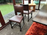 Traditional Solid Wood Table with 4 Refurbished Chairs