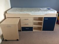 Boys Midsleeper Cabin Bed with mattress. Tesco Fresno II. Clean, very good condition