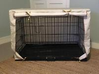 Cream and beige stripe lightweight dog crate cover for a large size crate. (CRATE NOT INCLUDED)
