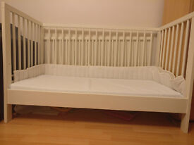 White Baby Cot with matress for sale
