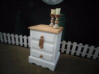 SOLID PINE FARMHOUSE BEDSIDE CABINET PAINTED WITH LAURA ASHLEY PALE DOVE GREY VERY SOLID CABINET