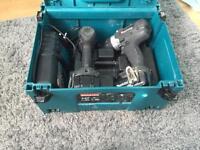 Makita 18v LXT combi drill and impact gun 2x 4amp battery's
