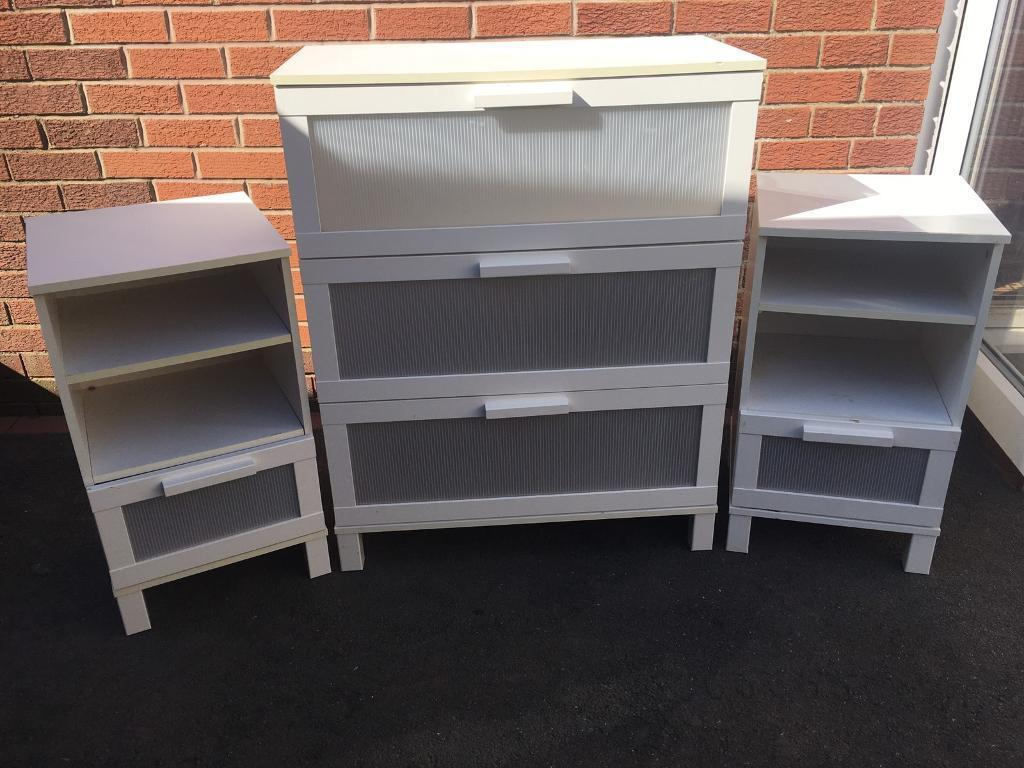 White bedroom furniture setin Kidsgrove, StaffordshireGumtree - White bedroom furniture set 2 side bed tables 1 chest draws. All in good condition width chest draws 31.5inches height 39.5inches 2 side bed table width 16inches height 28.5inches. Can deliver for fuel cost