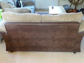 DFS SMALL two seated brown fabric sofa (high denisty foam cushion upgrade)