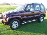 (4X4) JEEP CHEROKEE 2.8td DIESEL AUTO 2 OWNER HI/LOW 4WD MET RED/LEATHER TRIM LONG MOT 04 REG £1795