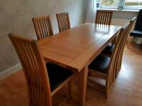 Extendable Solid Oak Dining Table 8 Chairs Included
