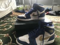 SIZE 10 Nike Air Jordan 1 Retro High White Blue Gold UK SIZE 10
