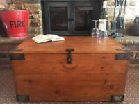 Old GPO Pine Chest, Blanket Box, Vintage Wooden Storage Trunk, Coffee Table.