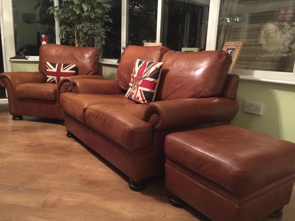 John Lewis Tetrad Cordoba Sofa Suite Tan Leather And Chair