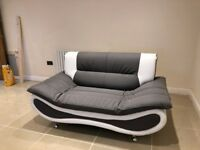 Two Seater Grey & White Leather Sofa - Brand new