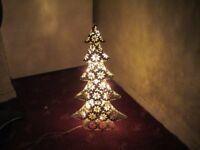 White Glitter Metal Electric Light up Christmas Tree