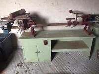 Coronet Major Lathe with accessories and chisels.