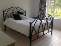 Iron bed frame & bedside tables
