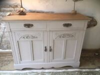 Oak Sideboard Antique Oak Stripped and base painted in dove Grey Chalk Paint Waxed