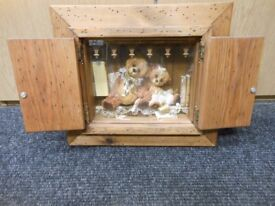 teddy bears in hanging wall antique style wooden cabinet with doors