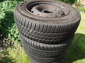 5 tyres on steel rimes