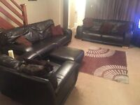 Three Piece Leather Sofas and Footstall