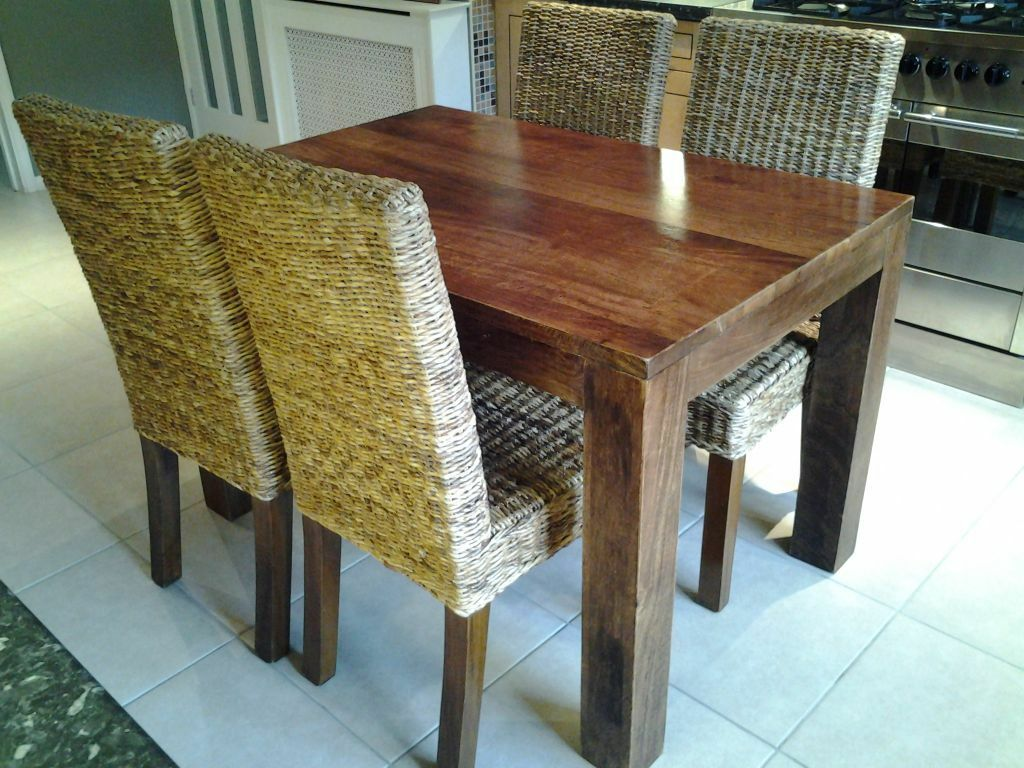 mango wood dining room chairs. next solid mango wood dining table and four kobe rattan chairs room 4