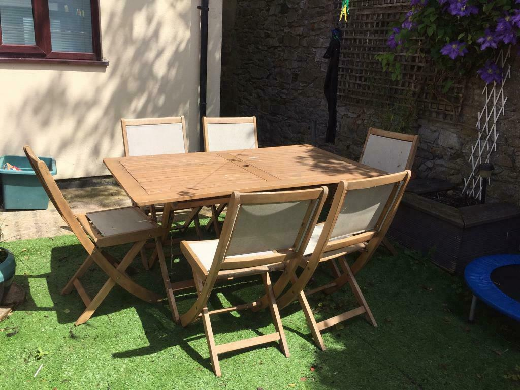6 seater wooden garden table and chairs | in Newton Abbot ...
