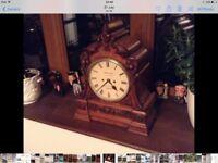 Chiming clock, walnut, beautiful, chimes every half hour.