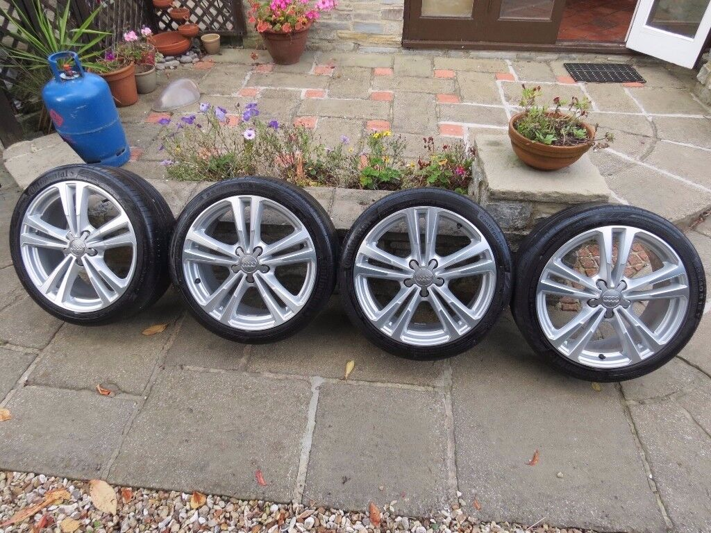 Audi A3 S3 alloy wheels 18in Diamond Cut S line - 4 great tyres 4/5mm